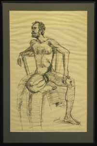 Nude Bearded Man Seated in Chair