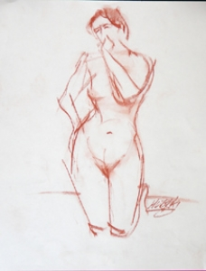 Nude Female Kneeling with Hands on Hip and Mouth