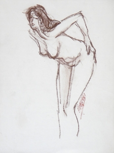 Nude Female Bending with Hand on Hip